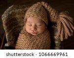 sleeping newborn baby in...   Shutterstock . vector #1066669961