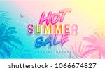 hot summer sale banner. trendy... | Shutterstock .eps vector #1066674827