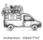 delivery truck hand drawn... | Shutterstock .eps vector #1066677767