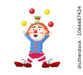 cute funny happy clown stands... | Shutterstock .eps vector #1066687424