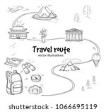 sketch travel route concept... | Shutterstock .eps vector #1066695119