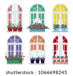 a set of windows with flowers... | Shutterstock .eps vector #1066698245
