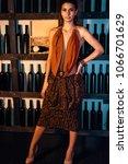 attractive slim brunette posing ...   Shutterstock . vector #1066701629