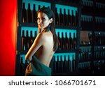 attractive slim brunette posing ...   Shutterstock . vector #1066701671