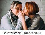 beautiful lesbian couple... | Shutterstock . vector #1066704884