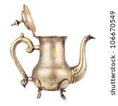 antique teapot on white...   Shutterstock . vector #106670549