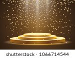 golden podium with a spotlight ... | Shutterstock .eps vector #1066714544