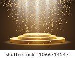 golden podium with a spotlight ...   Shutterstock .eps vector #1066714547