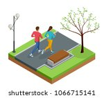 isometric young woman and man... | Shutterstock .eps vector #1066715141
