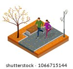 isometric young woman and man... | Shutterstock .eps vector #1066715144