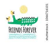 crocodile and bird illustration ... | Shutterstock .eps vector #1066716101