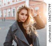 stylish fashion model woman in...   Shutterstock . vector #1066717799
