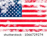 usa flag snowflake background | Shutterstock . vector #1066729274