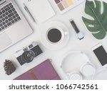 top view of office desk... | Shutterstock . vector #1066742561