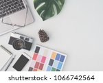top view of office desk... | Shutterstock . vector #1066742564