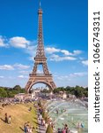 a beautiful view on the eiffel... | Shutterstock . vector #1066743311