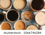 many cups of different aromatic ... | Shutterstock . vector #1066746284