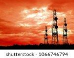 silhouette satellite dish... | Shutterstock . vector #1066746794