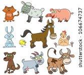cartoon hand drawn farm animals ... | Shutterstock . vector #106674737