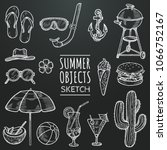 summer vector chalk sketch set. ... | Shutterstock .eps vector #1066752167