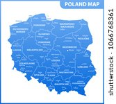 the detailed map of the poland... | Shutterstock .eps vector #1066768361