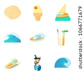 sea voyage icons set. cartoon... | Shutterstock .eps vector #1066771679