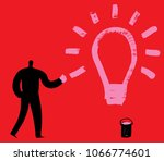 man with pink paint on hand...   Shutterstock .eps vector #1066774601