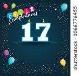 feliz cumpleanos 17   happy... | Shutterstock .eps vector #1066776455