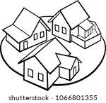 graphic art   village vector... | Shutterstock .eps vector #1066801355