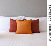 colorful pillow on hotel bed... | Shutterstock . vector #106681061
