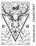 black color engraved deer skull ... | Shutterstock .eps vector #1066813847