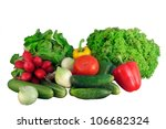 fresh vegetables on white... | Shutterstock . vector #106682324
