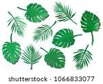 set of paper cut green jungle... | Shutterstock . vector #1066833077