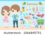 cartoon people in the summer on ... | Shutterstock .eps vector #1066840751