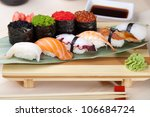 classic japanese food  sushi on ... | Shutterstock . vector #106684724