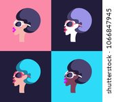 girl with retro hairstyle in an ... | Shutterstock .eps vector #1066847945