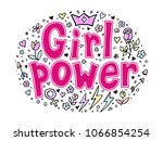 girl power quote. grl pwr hand... | Shutterstock .eps vector #1066854254