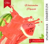 watermelon popsicle ads.... | Shutterstock .eps vector #1066855154