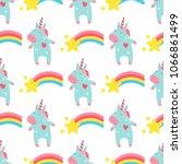 cute unicorn baby vector... | Shutterstock .eps vector #1066861499
