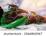Snowmobile. Close Up Of Row Of...