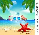 vector summer background with... | Shutterstock .eps vector #1066884221