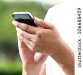 hand using smart phone   Shutterstock . vector #106688459