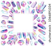 crystals square frame.... | Shutterstock . vector #1066891034