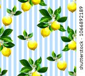 Stock vector seamless citrus vector pattern on striped background hand drawn illustration with lemons 1066892189
