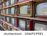 old tv stacked on top. art of... | Shutterstock . vector #1066919981