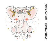 baby elephant. hand drawn... | Shutterstock .eps vector #1066925339