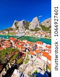 Small photo of Town of Omis and Cetina river mouth panoramic view, Dalmatia region of Croatia