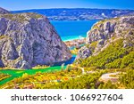 cetina river canyon and mouth...   Shutterstock . vector #1066927604