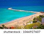 town of omis beach and sanbar...   Shutterstock . vector #1066927607