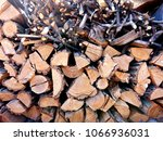 a pile with firewood prepared... | Shutterstock . vector #1066936031